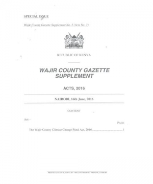 The Wajir County Climate Change Fund Act, 2016