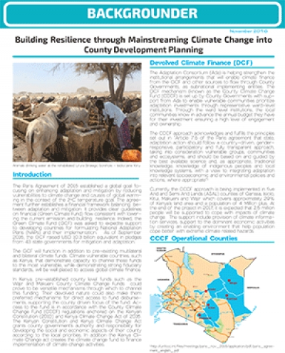 Building Resilience through Mainstreaming Climate Change into County Development Planning