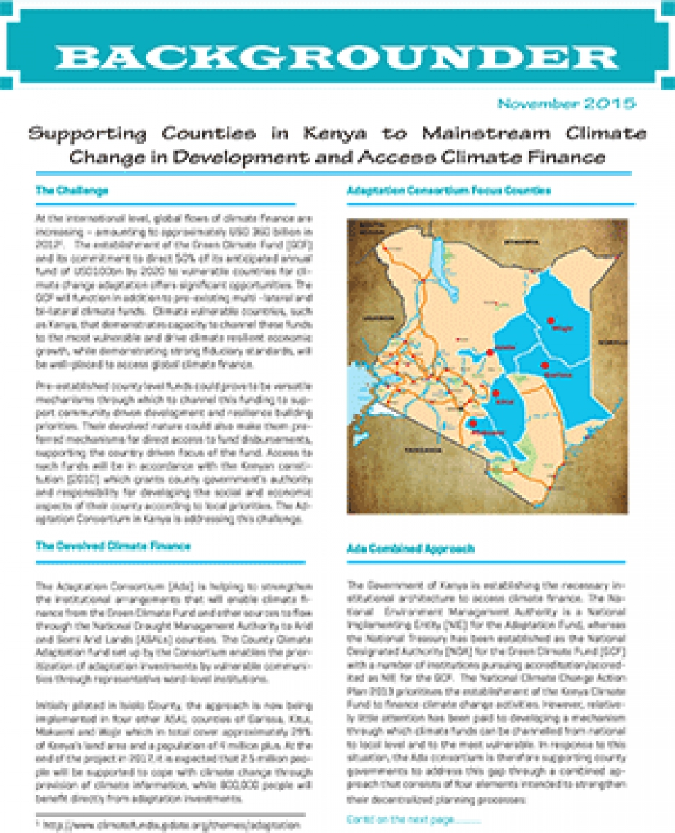 Supporting Counties in Kenya to Mainstream Climate Change in Development and Access Climate Finance