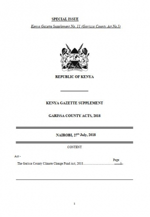 Garissa Climate Change Fund Bill 2018