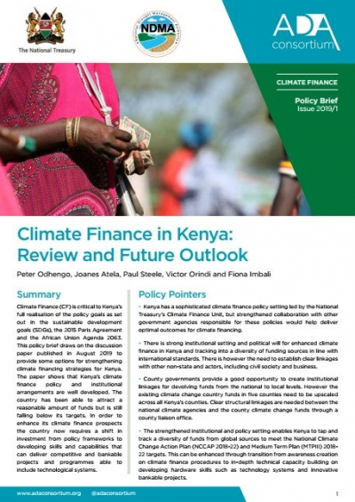 Climate finace in Kenya Final Policy Brief and Discussion Paper