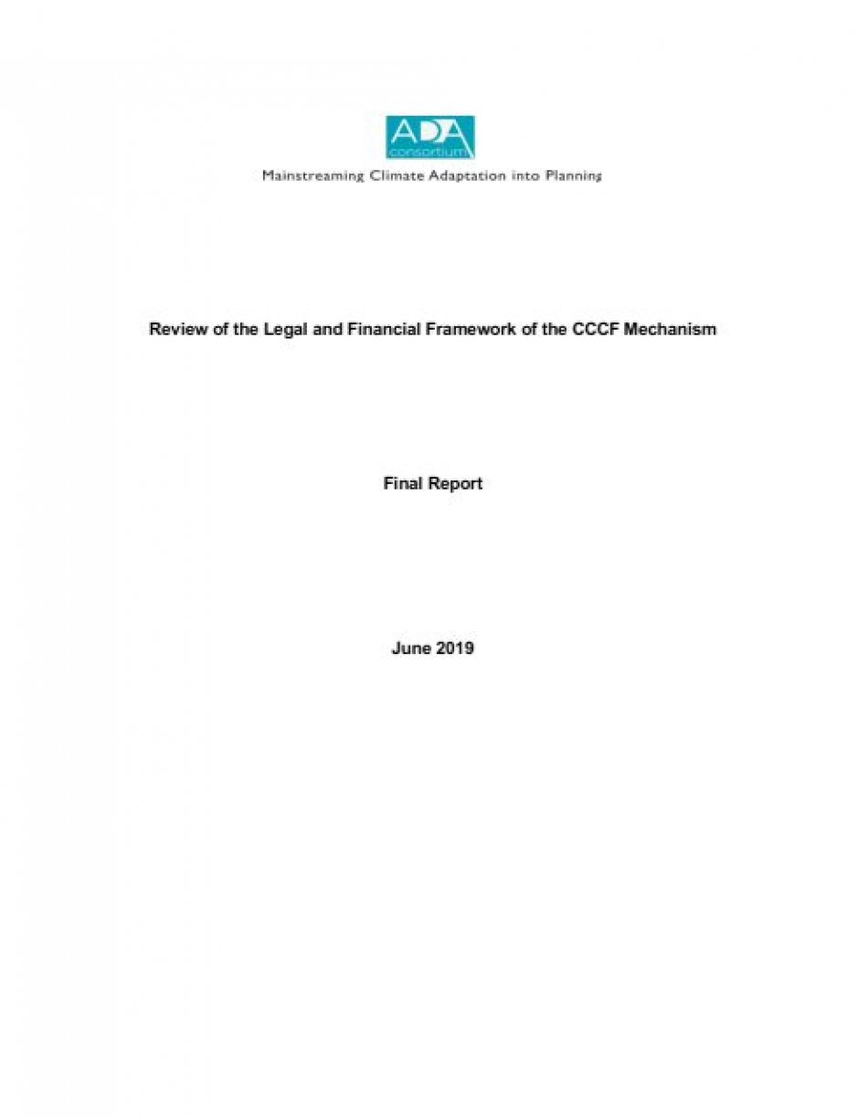 Review of the legal and financial framework of the CCCF Mechanism