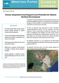 County Adaptation Fund Support Local Priorities for Climate Resilient Development