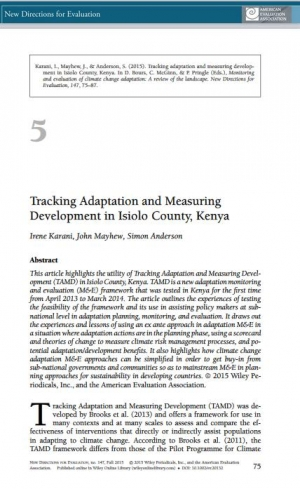 Monitoring and Evaluation of Climate Change Adaptation: A Review of the Landscape Tracking adaptation and measuring development in Isiolo County, Kenya